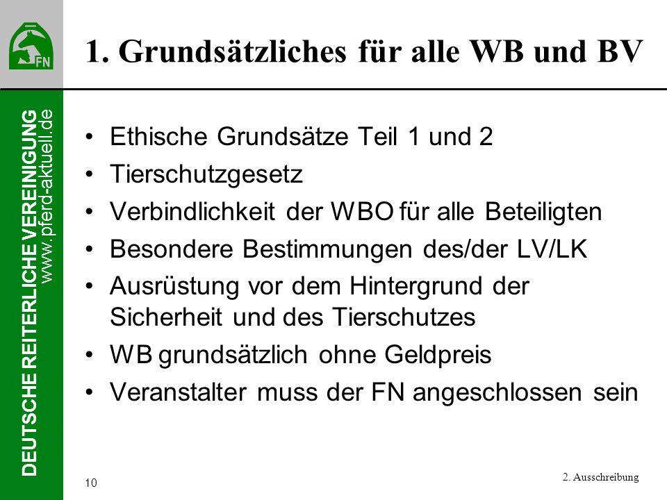 1. Grundsätzliches für alle WB und BV