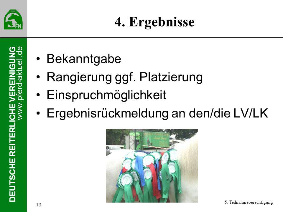 4. Ergebnisse Bekanntgabe Rangierung ggf. Platzierung