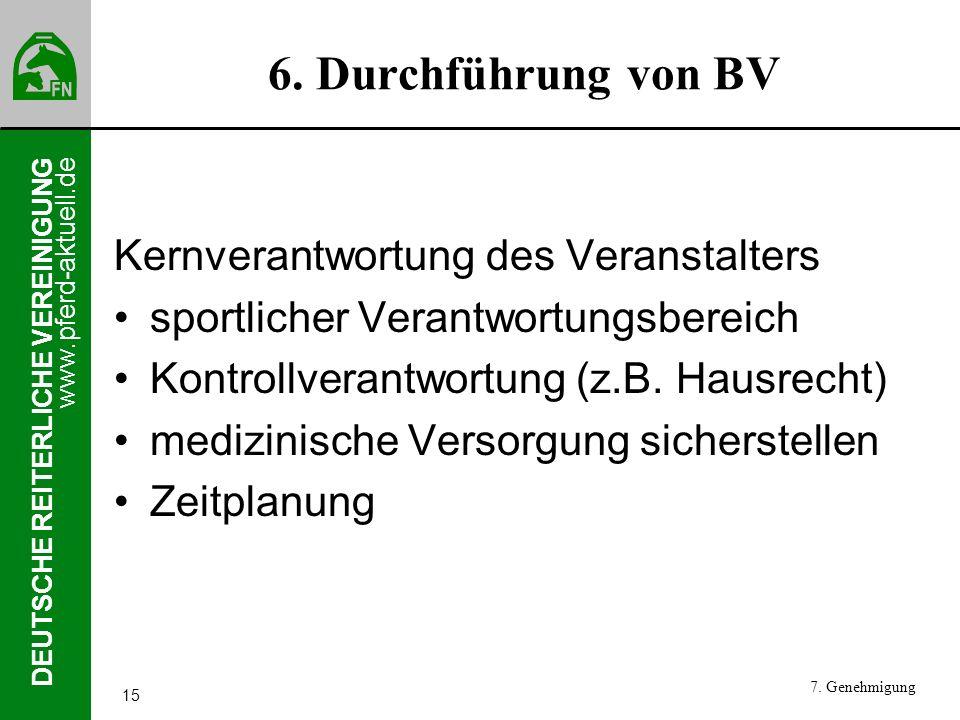 6. Durchführung von BV Kernverantwortung des Veranstalters