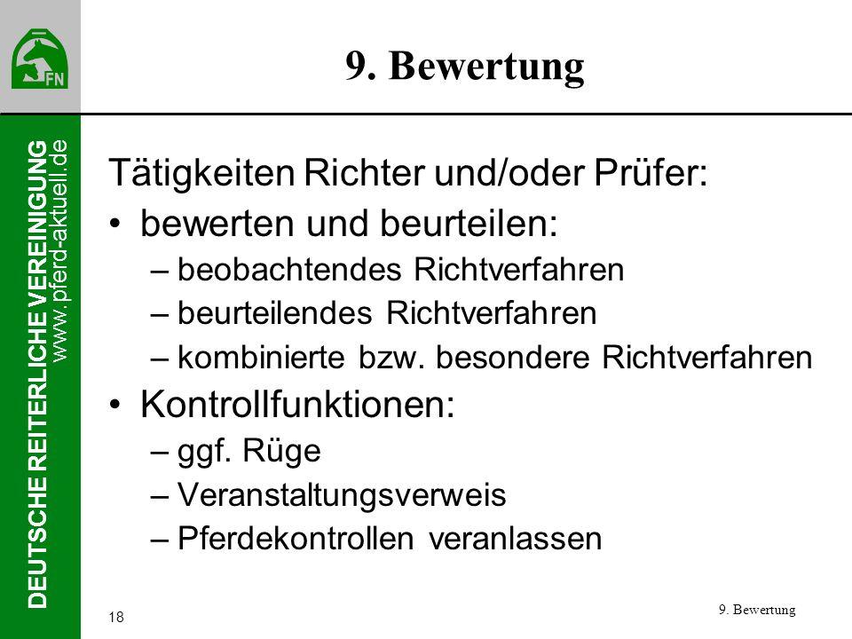 9. Bewertung Tätigkeiten Richter und/oder Prüfer: