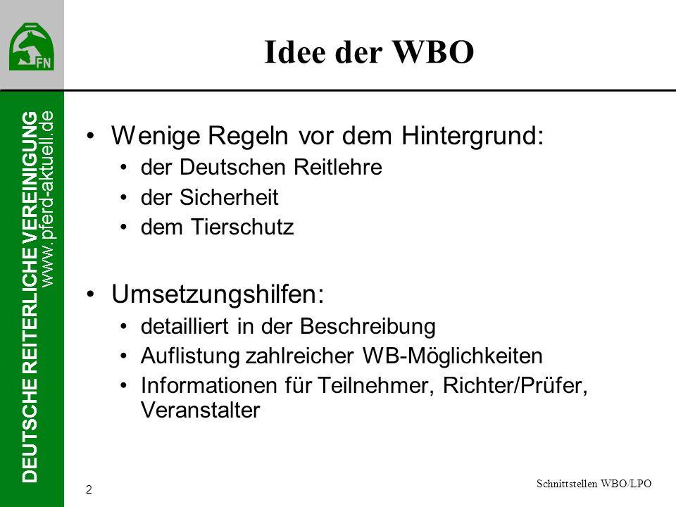 Idee der WBO Wenige Regeln vor dem Hintergrund: Umsetzungshilfen: