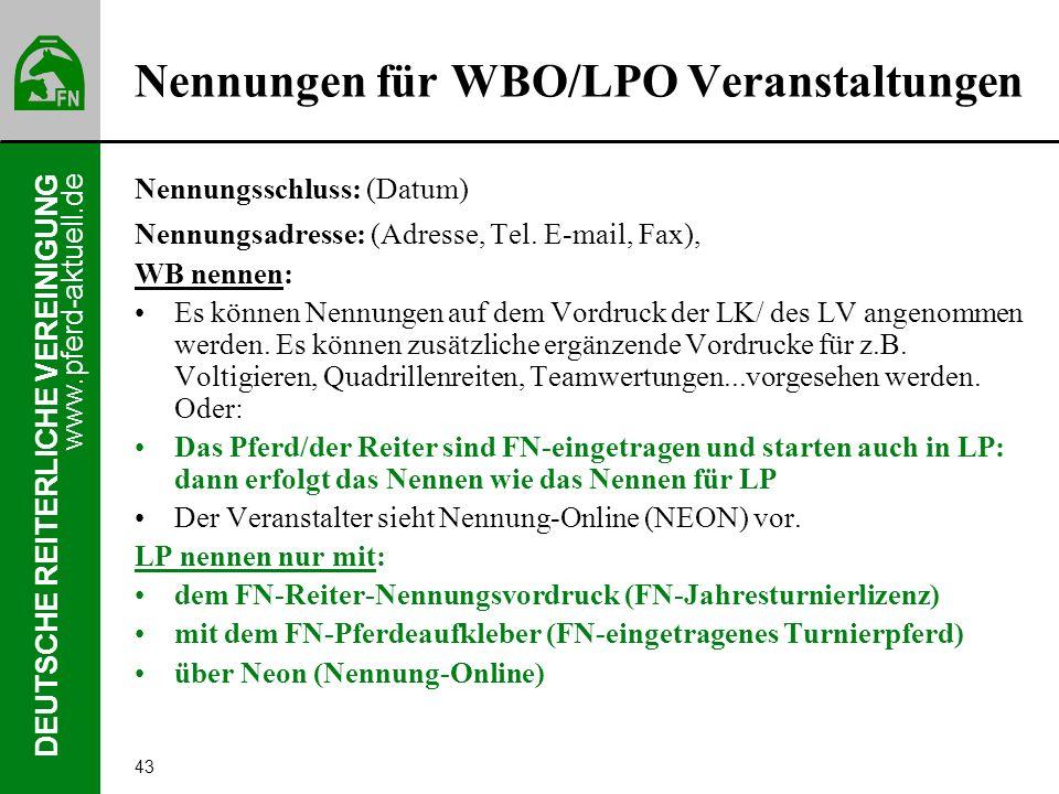 Nennungen für WBO/LPO Veranstaltungen
