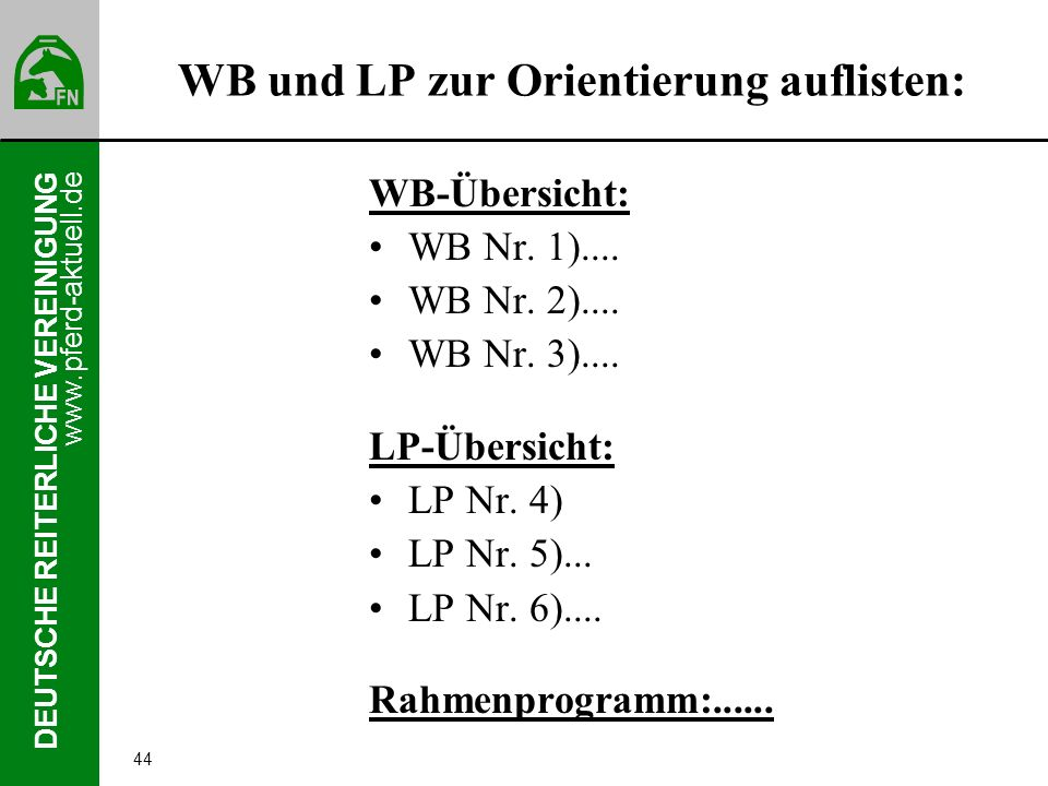 WB und LP zur Orientierung auflisten: