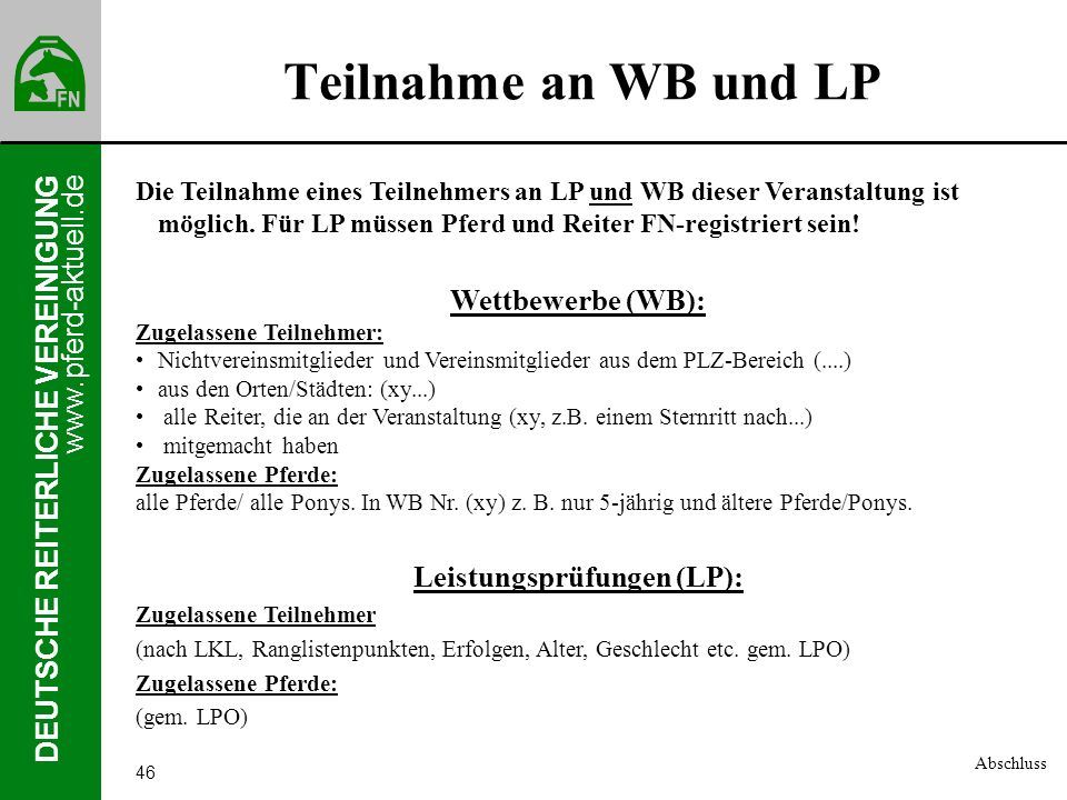 Leistungsprüfungen (LP):