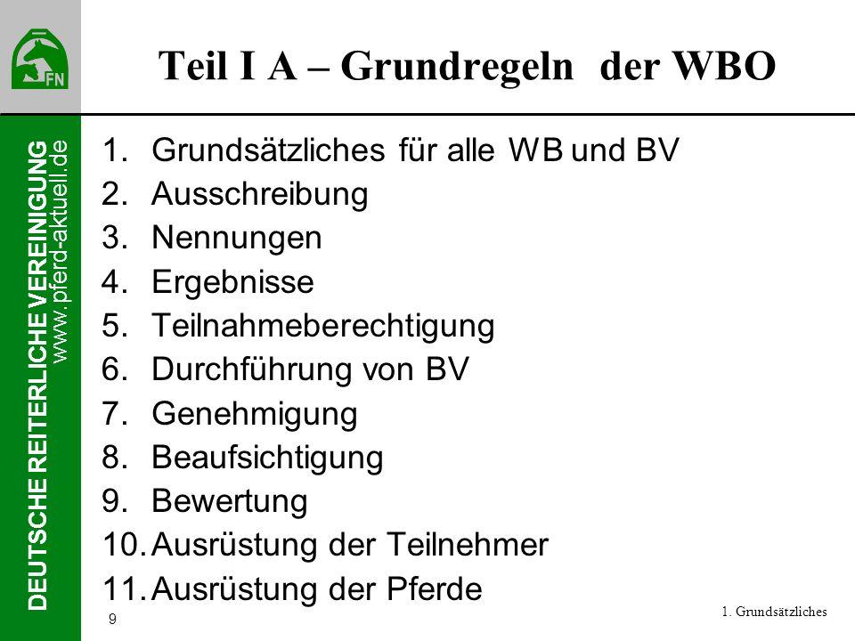 Teil I A – Grundregeln der WBO