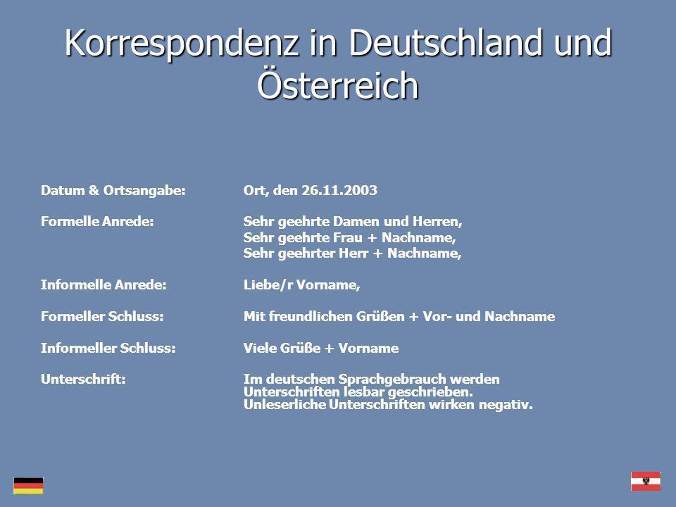 Korrespondenz in Deutschland und Österreich
