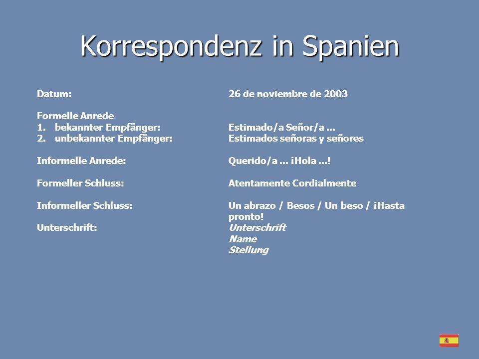 Korrespondenz in Spanien