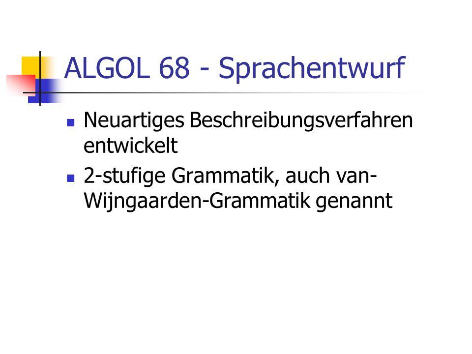 ALGOL 68 - Sprachentwurf Neuartiges Beschreibungsverfahren entwickelt