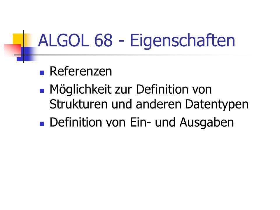 ALGOL 68 - Eigenschaften Referenzen