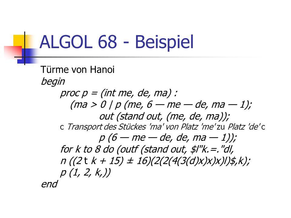 ALGOL 68 - Beispiel Türme von Hanoi begin proc p = (int me, de, ma) :