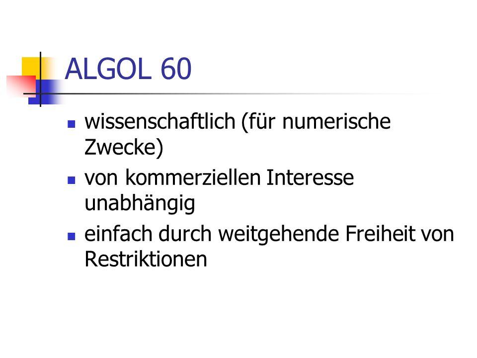 ALGOL 60 wissenschaftlich (für numerische Zwecke)