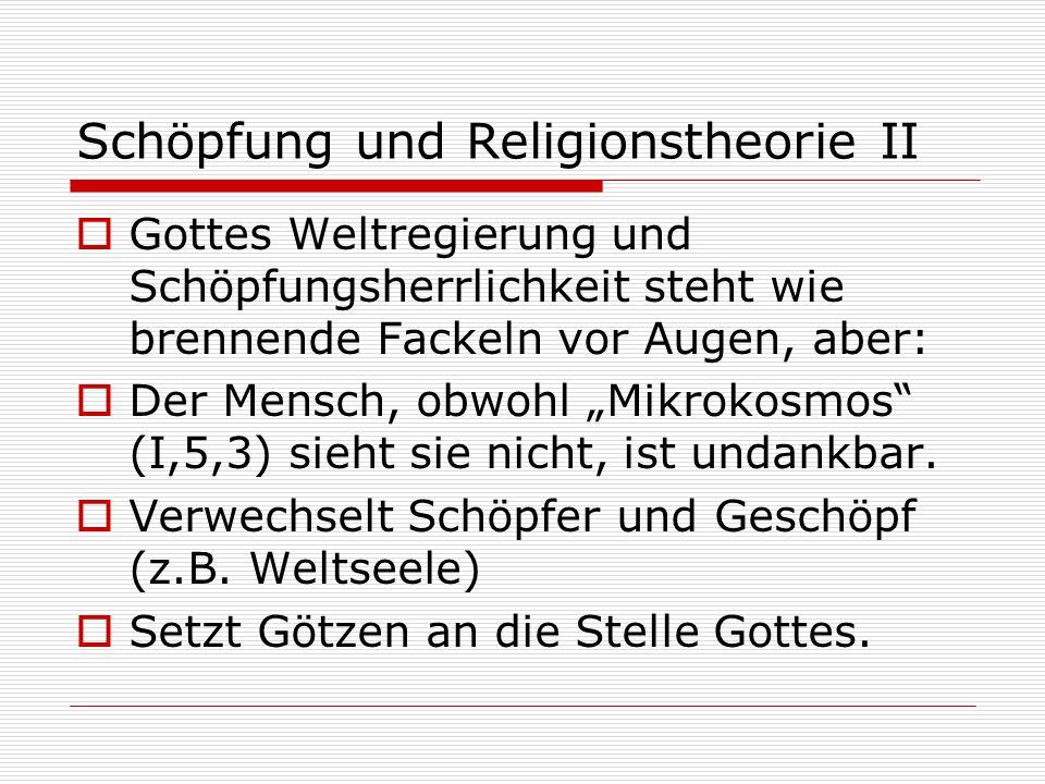 Schöpfung und Religionstheorie II