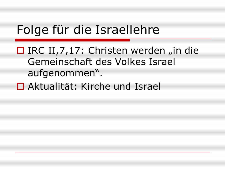 Folge für die Israellehre