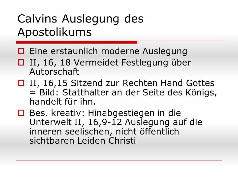 Calvins Auslegung des Apostolikums