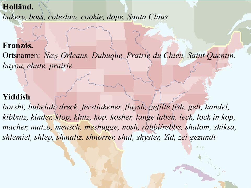 Holländ. bakery, boss, coleslaw, cookie, dope, Santa Claus. Französ. Ortsnamen: New Orleans, Dubuque, Prairie du Chien, Saint Quentin.