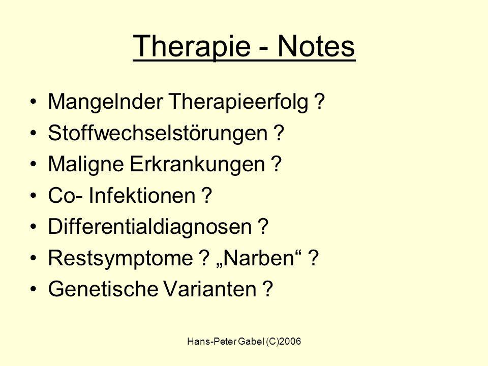 Therapie - Notes Mangelnder Therapieerfolg Stoffwechselstörungen