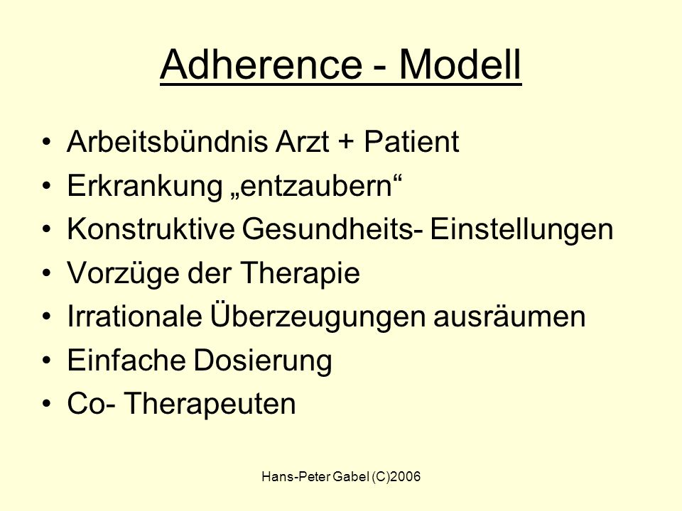 Adherence - Modell Arbeitsbündnis Arzt + Patient