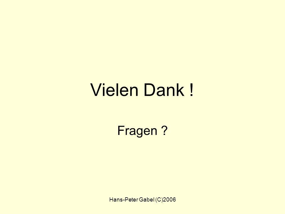 Vielen Dank ! Fragen Hans-Peter Gabel (C)2006