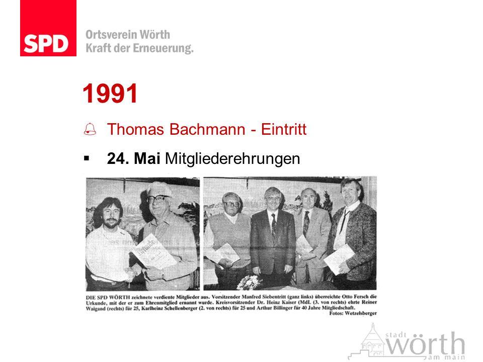 1991 Thomas Bachmann - Eintritt 24. Mai Mitgliederehrungen
