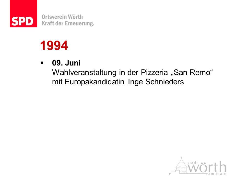 """1994 09. Juni Wahlveranstaltung in der Pizzeria """"San Remo mit Europakandidatin Inge Schnieders"""