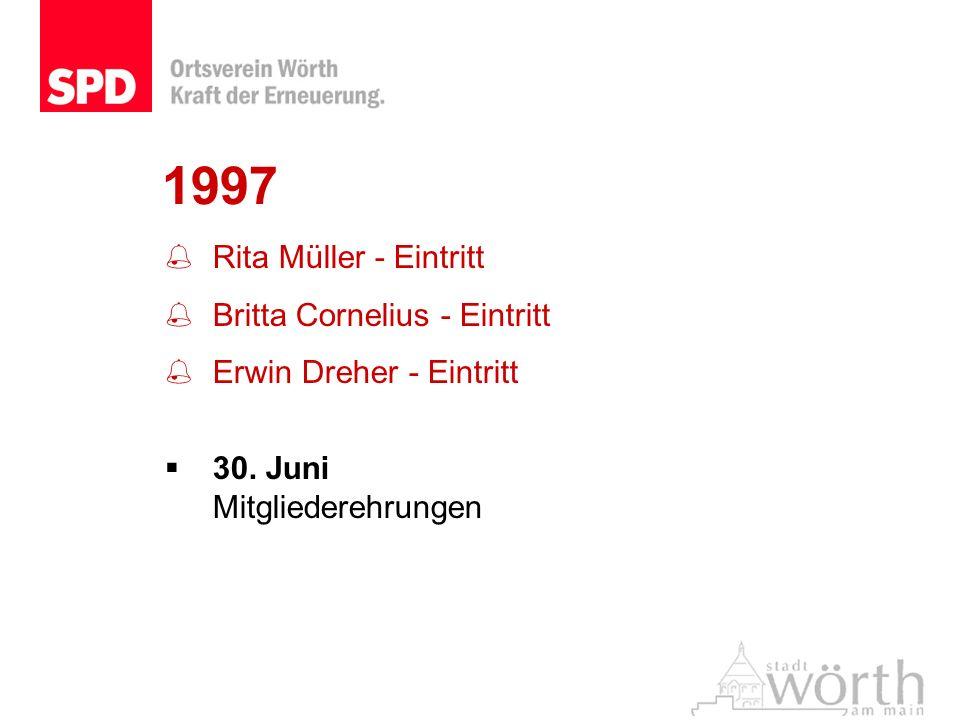 1997 Rita Müller - Eintritt Britta Cornelius - Eintritt