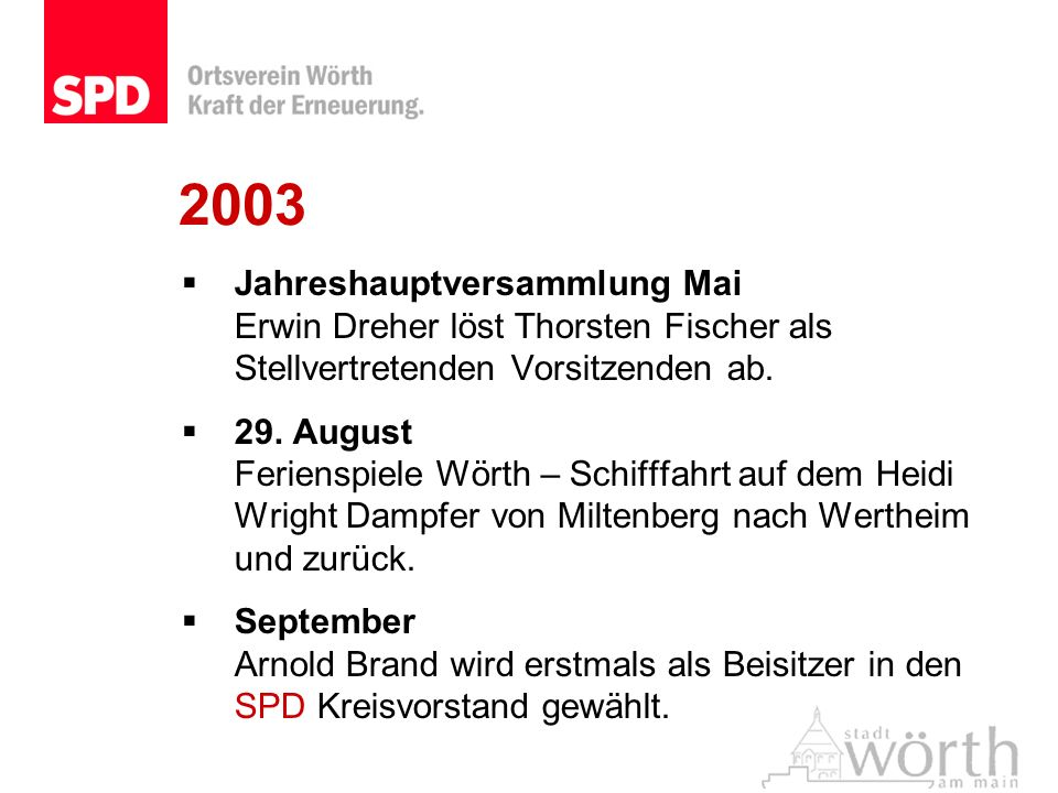 2003Jahreshauptversammlung Mai Erwin Dreher löst Thorsten Fischer als Stellvertretenden Vorsitzenden ab.