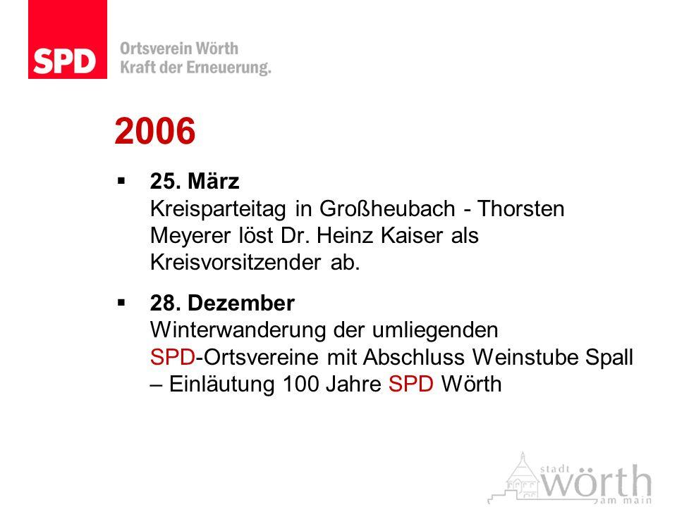 2006 25. März Kreisparteitag in Großheubach - Thorsten Meyerer löst Dr. Heinz Kaiser als Kreisvorsitzender ab.