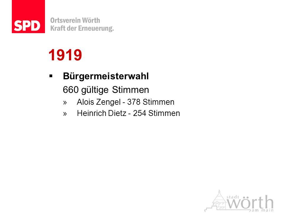 1919 Bürgermeisterwahl 660 gültige Stimmen Alois Zengel - 378 Stimmen