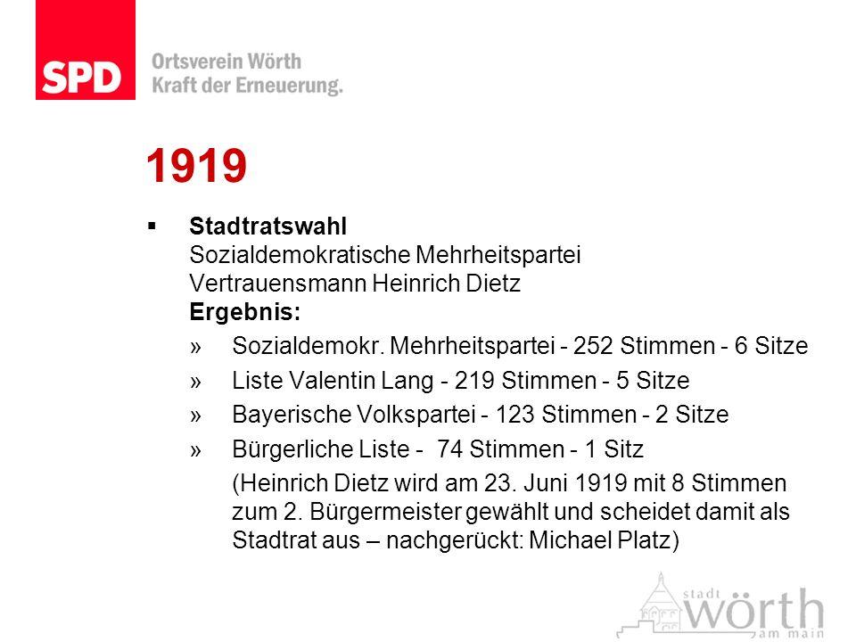 1919Stadtratswahl Sozialdemokratische Mehrheitspartei Vertrauensmann Heinrich Dietz Ergebnis: Sozialdemokr. Mehrheitspartei - 252 Stimmen - 6 Sitze.