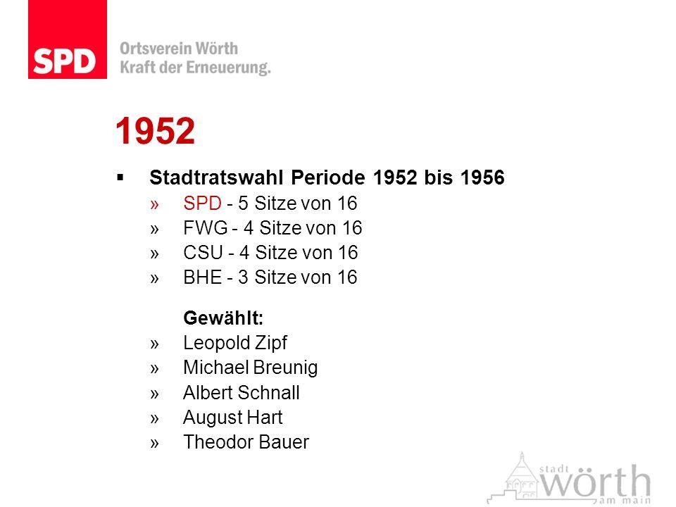 1952 Stadtratswahl Periode 1952 bis 1956 SPD - 5 Sitze von 16