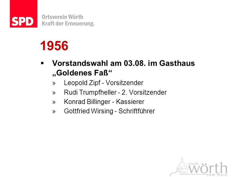 """1956 Vorstandswahl am 03.08. im Gasthaus """"Goldenes Faß"""