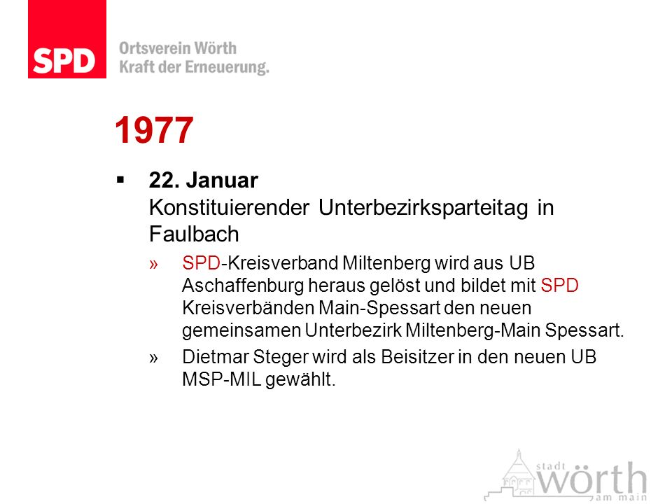 1977 22. Januar Konstituierender Unterbezirksparteitag in Faulbach