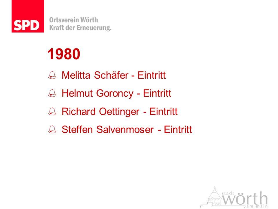 1980 Melitta Schäfer - Eintritt Helmut Goroncy - Eintritt