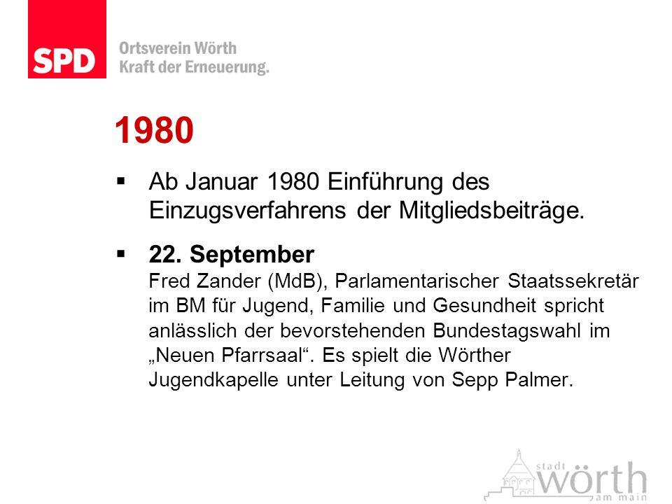 1980Ab Januar 1980 Einführung des Einzugsverfahrens der Mitgliedsbeiträge.