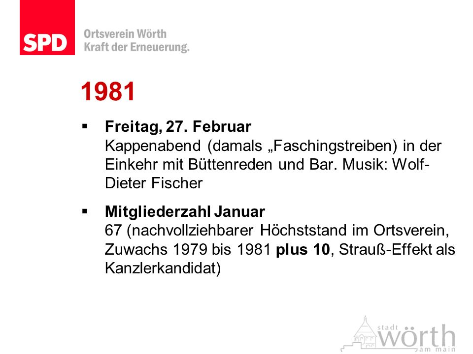 """1981 Freitag, 27. Februar Kappenabend (damals """"Faschingstreiben) in der Einkehr mit Büttenreden und Bar. Musik: Wolf-Dieter Fischer."""