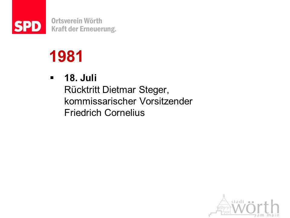 1981 18. Juli Rücktritt Dietmar Steger, kommissarischer Vorsitzender Friedrich Cornelius