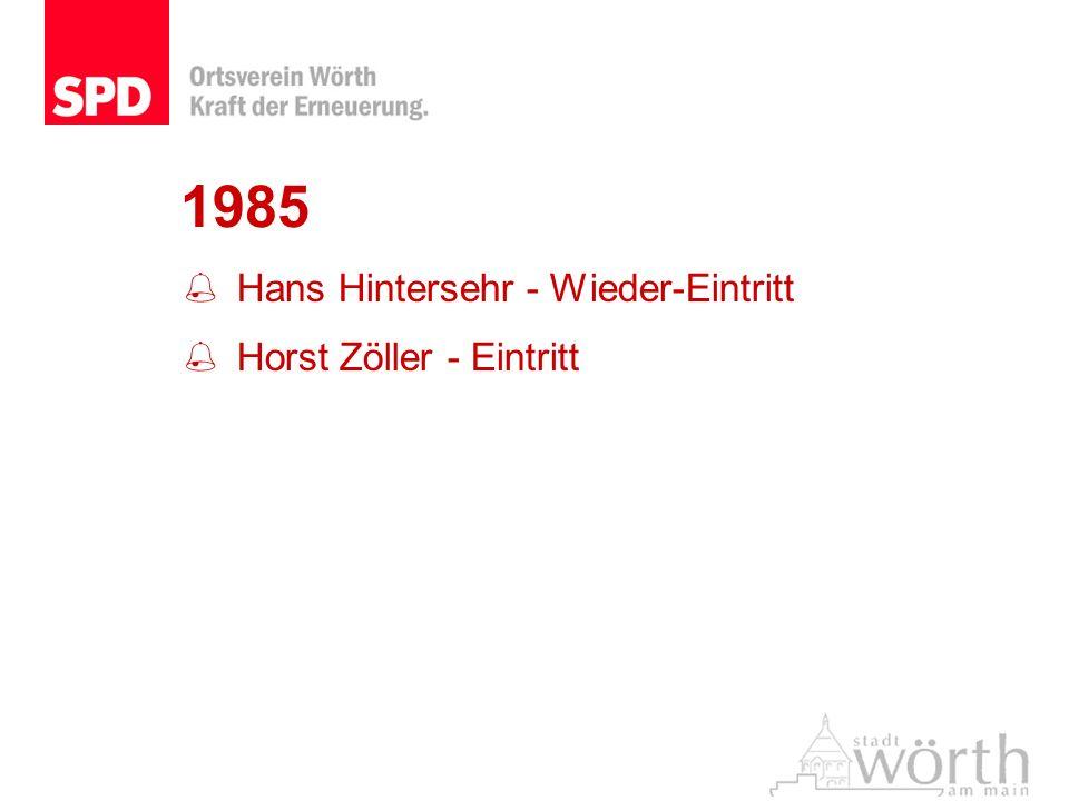 1985 Hans Hintersehr - Wieder-Eintritt Horst Zöller - Eintritt
