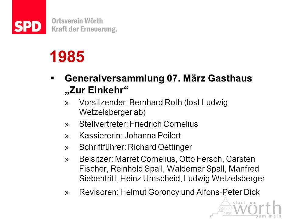 """1985 Generalversammlung 07. März Gasthaus """"Zur Einkehr"""
