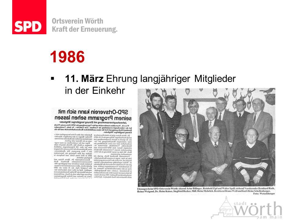 1986 11. März Ehrung langjähriger Mitglieder in der Einkehr