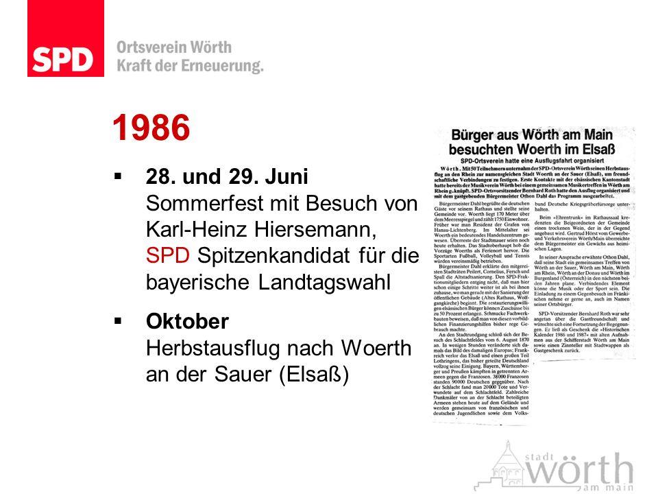 1986 28. und 29. Juni Sommerfest mit Besuch von Karl-Heinz Hiersemann, SPD Spitzenkandidat für die bayerische Landtagswahl.