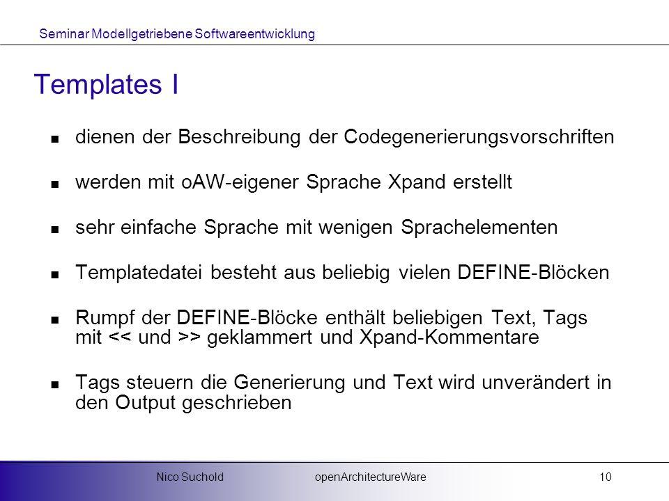 Templates I dienen der Beschreibung der Codegenerierungsvorschriften