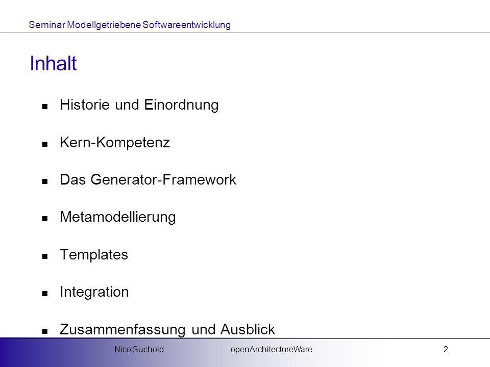 Inhalt Historie und Einordnung Kern-Kompetenz Das Generator-Framework