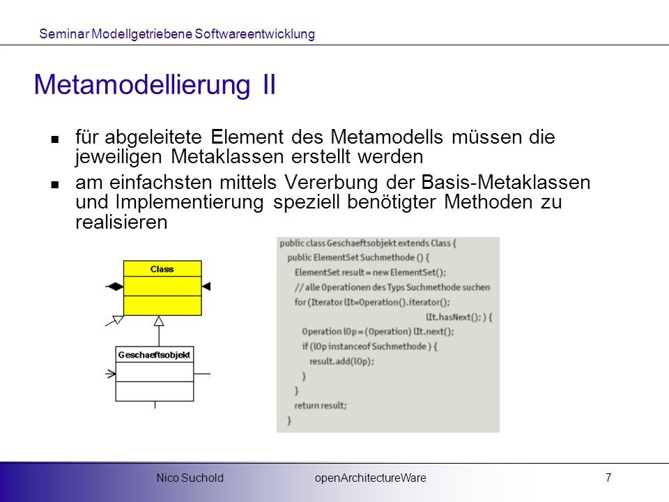 Metamodellierung IIfür abgeleitete Element des Metamodells müssen die jeweiligen Metaklassen erstellt werden.