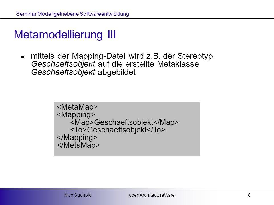 Metamodellierung III mittels der Mapping-Datei wird z.B. der Stereotyp Geschaeftsobjekt auf die erstellte Metaklasse Geschaeftsobjekt abgebildet.