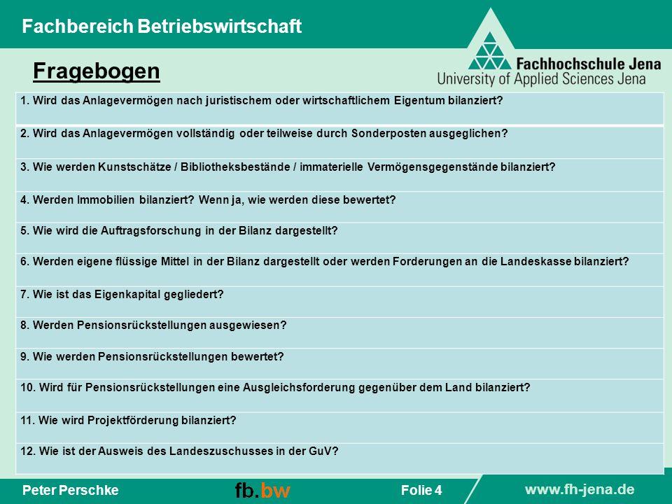 Fragebogen Fachbereich Betriebswirtschaft Peter Perschke