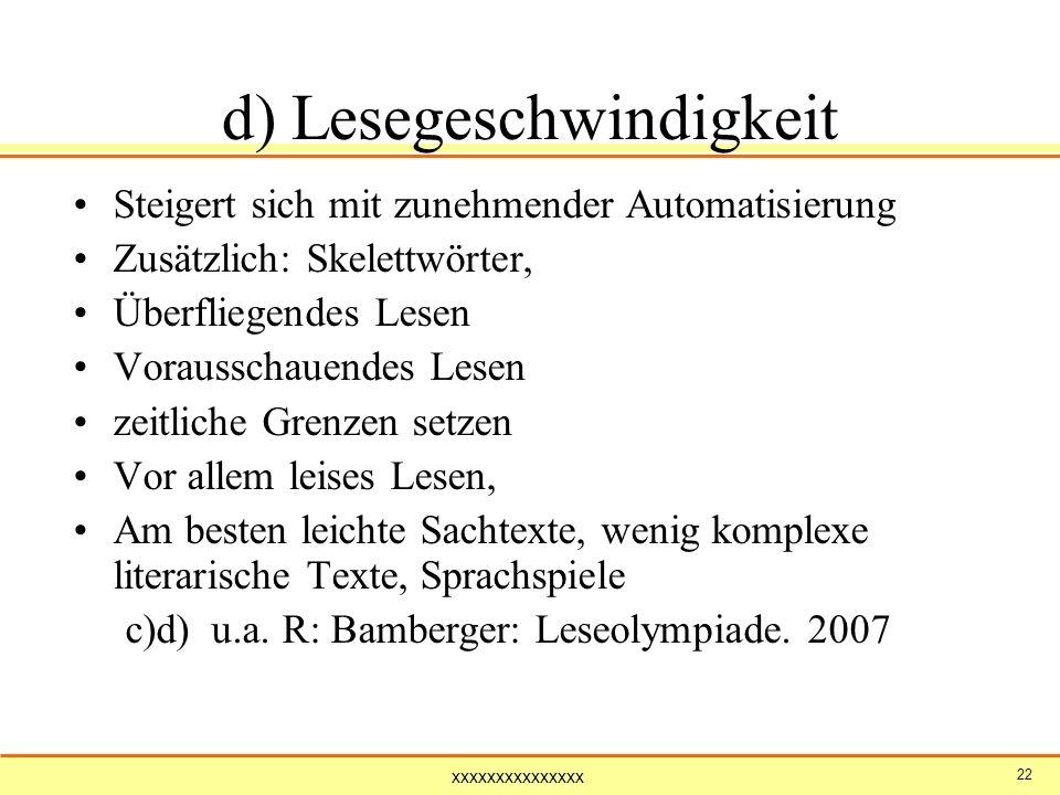 d) Lesegeschwindigkeit