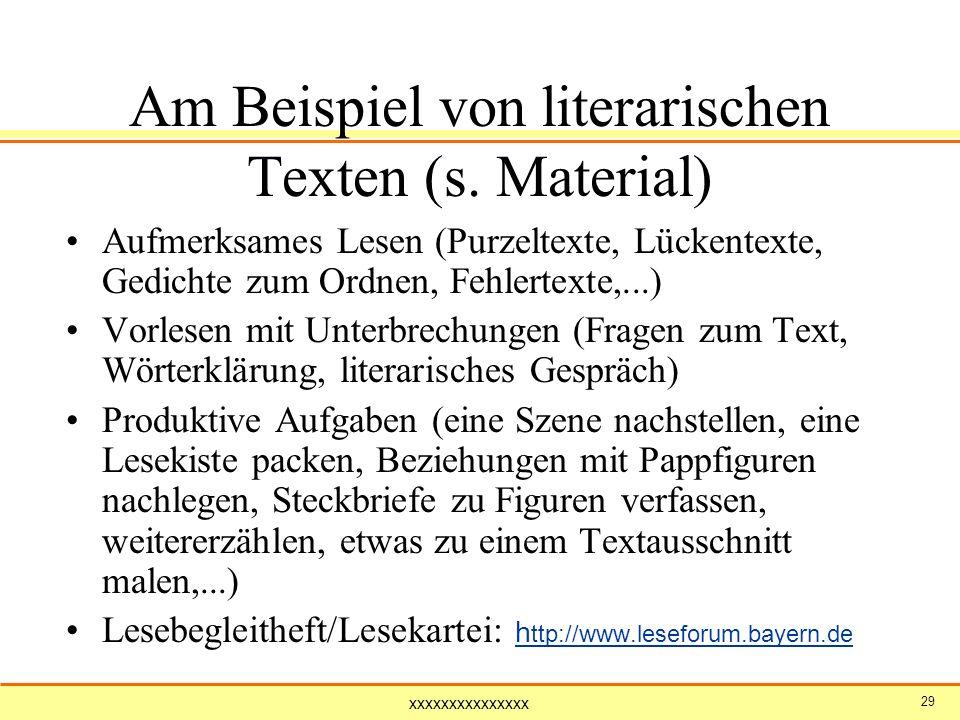 Am Beispiel von literarischen Texten (s. Material)