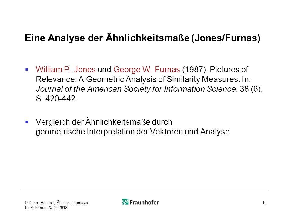 Eine Analyse der Ähnlichkeitsmaße (Jones/Furnas)