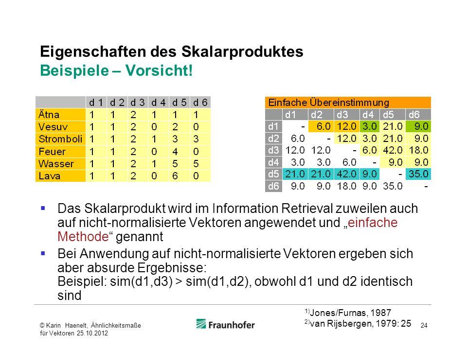 Eigenschaften des Skalarproduktes Beispiele – Vorsicht!