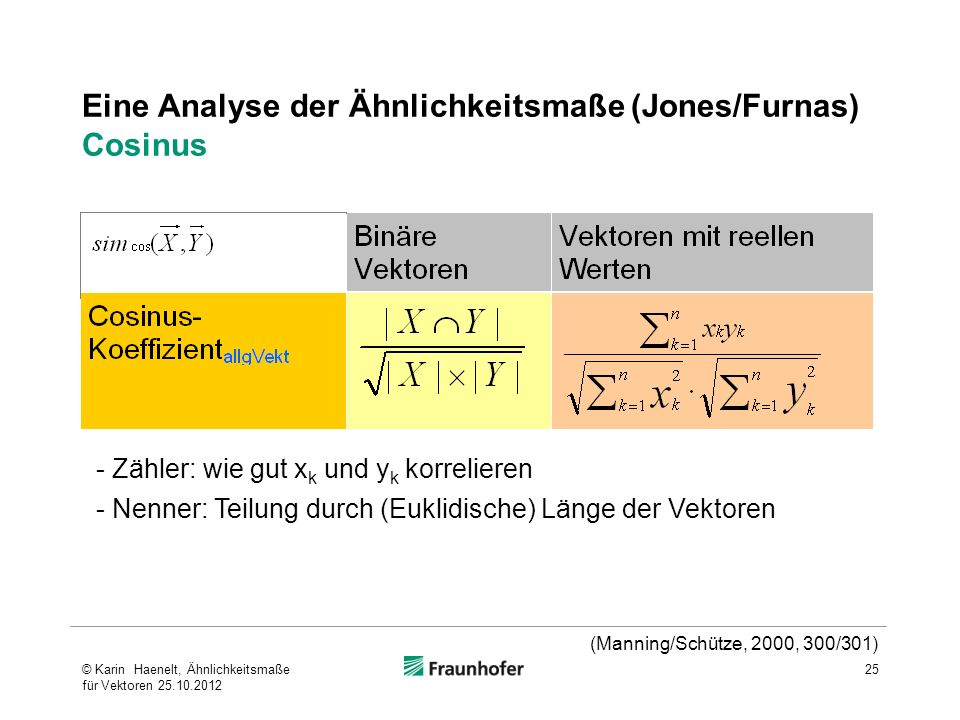 Eine Analyse der Ähnlichkeitsmaße (Jones/Furnas) Cosinus